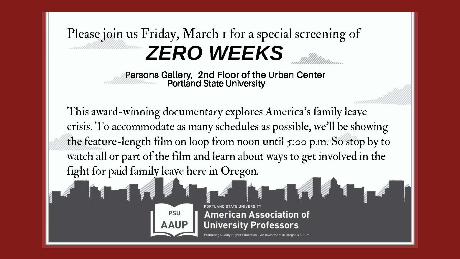 Special Screening of Zero Weeks