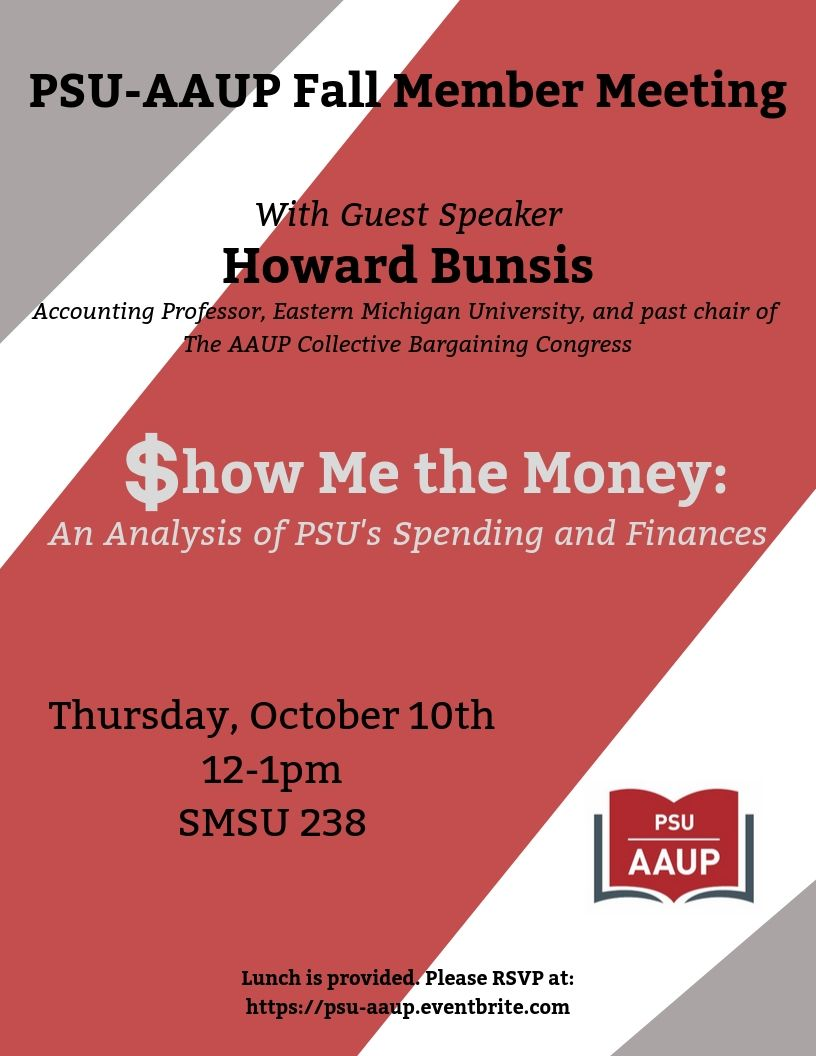 Show me the Money! Special PSU-AAUP Membership Meeting Thursday October 10, SMSU 238