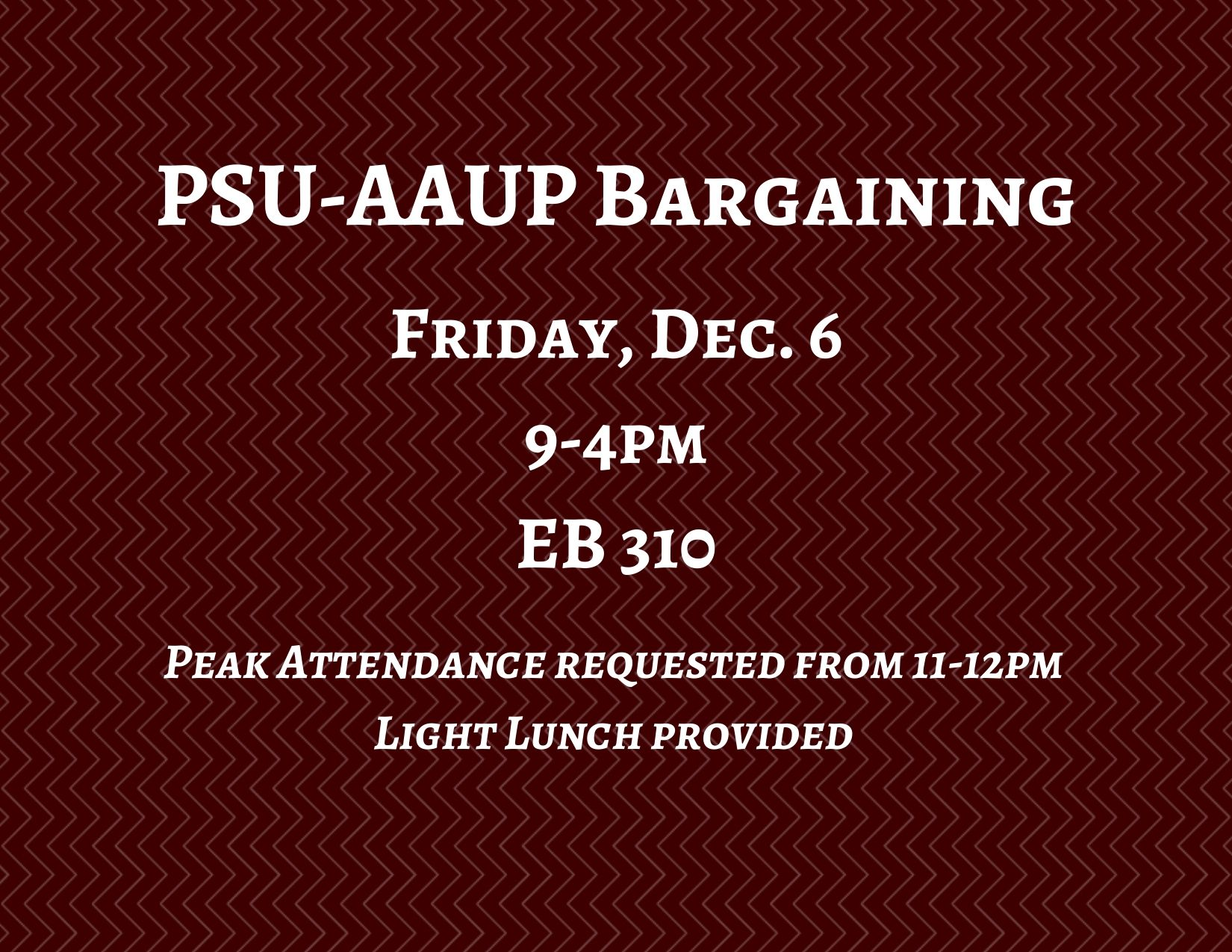 PSU-AAUP Bargaining - December 6