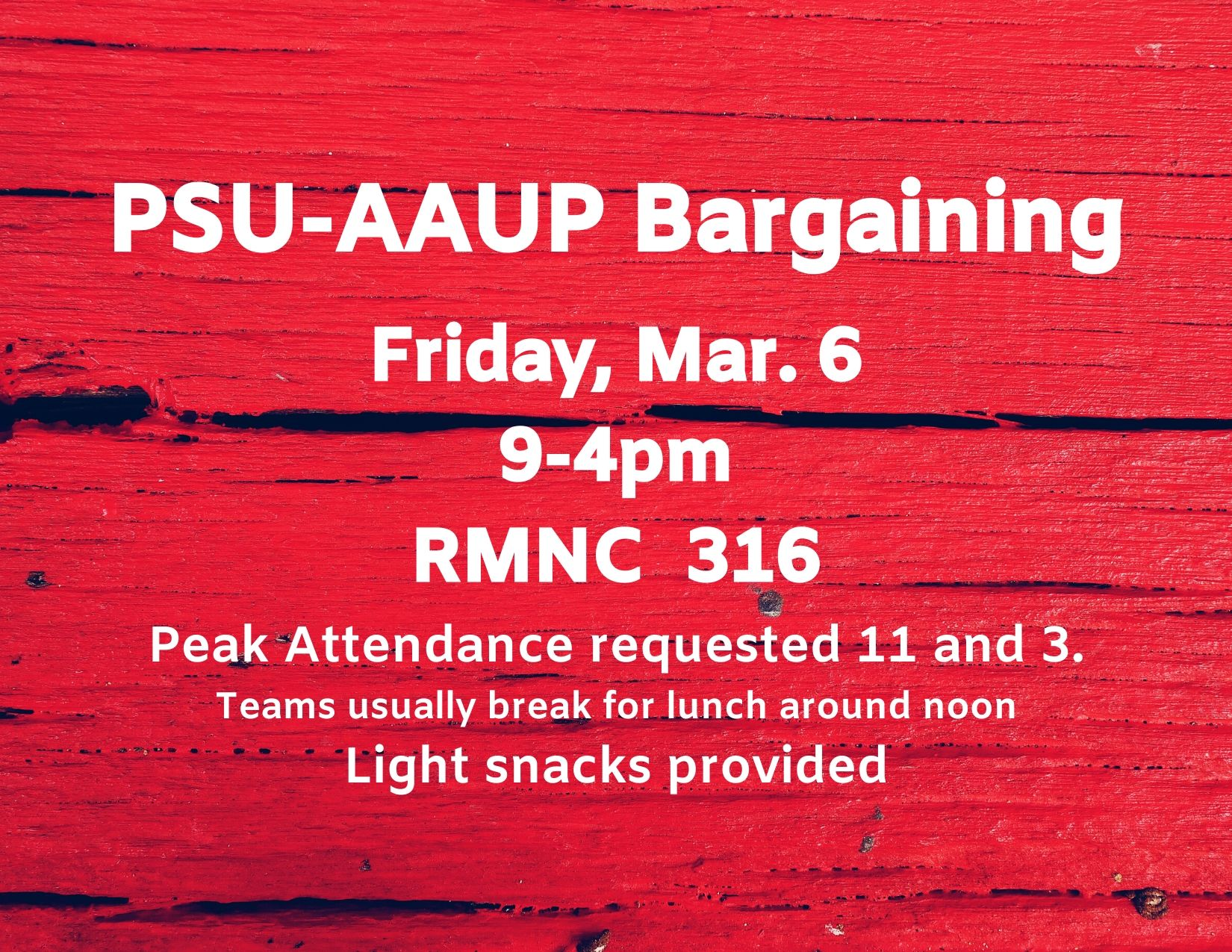 PSU-AAUP Bargaining - March 6