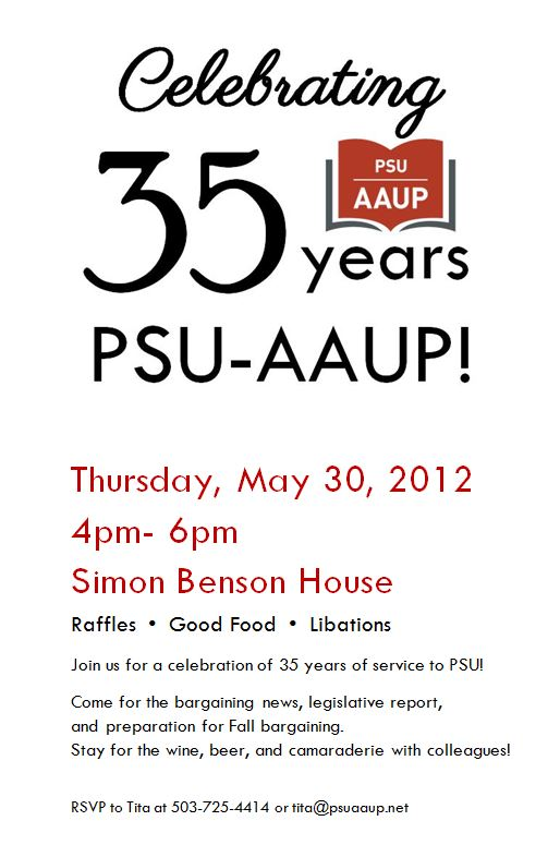 Celebrating 35 Years! The PSU-AAUP Annual Meeting!