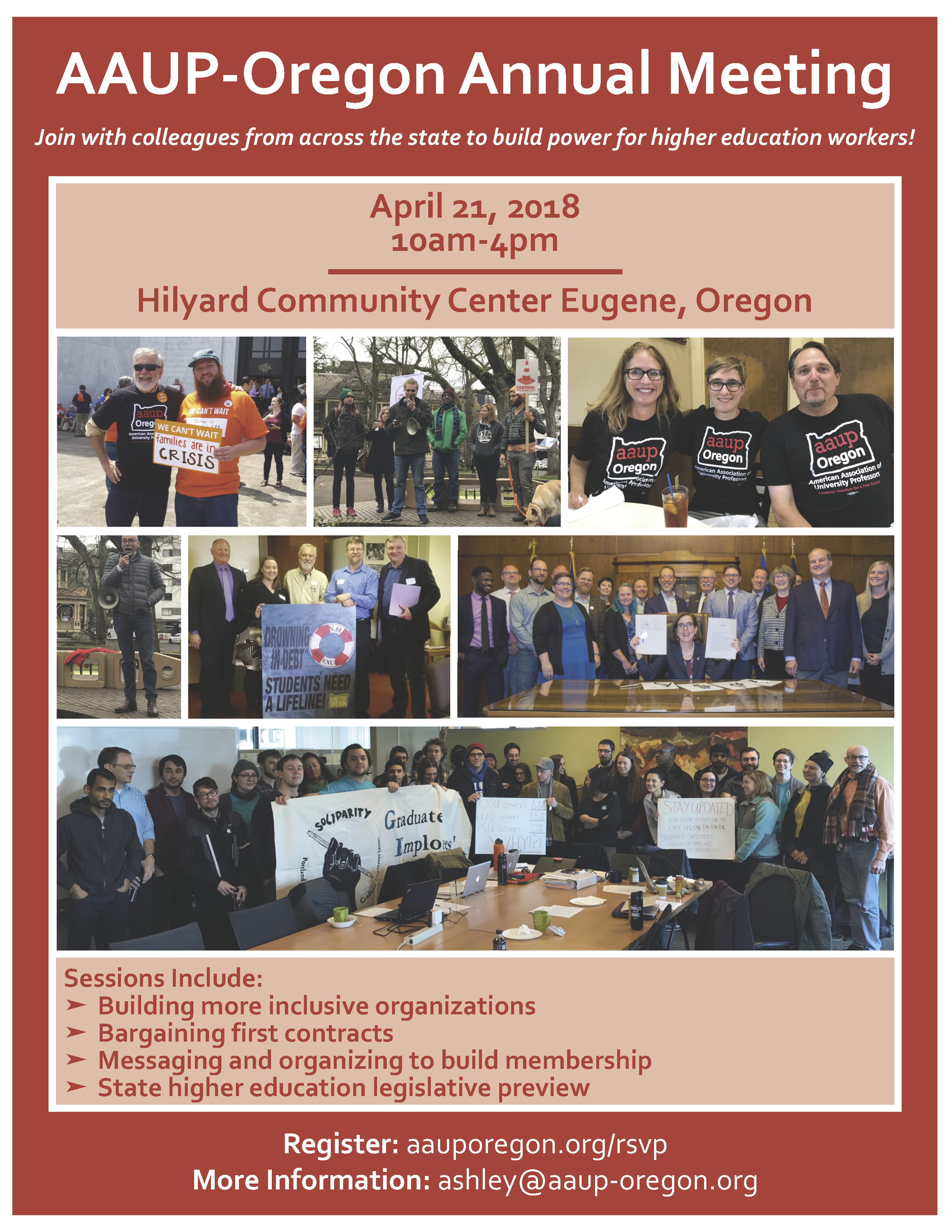 AAUP-Oregon Annual Meeting April 21 10-4 Please sign up