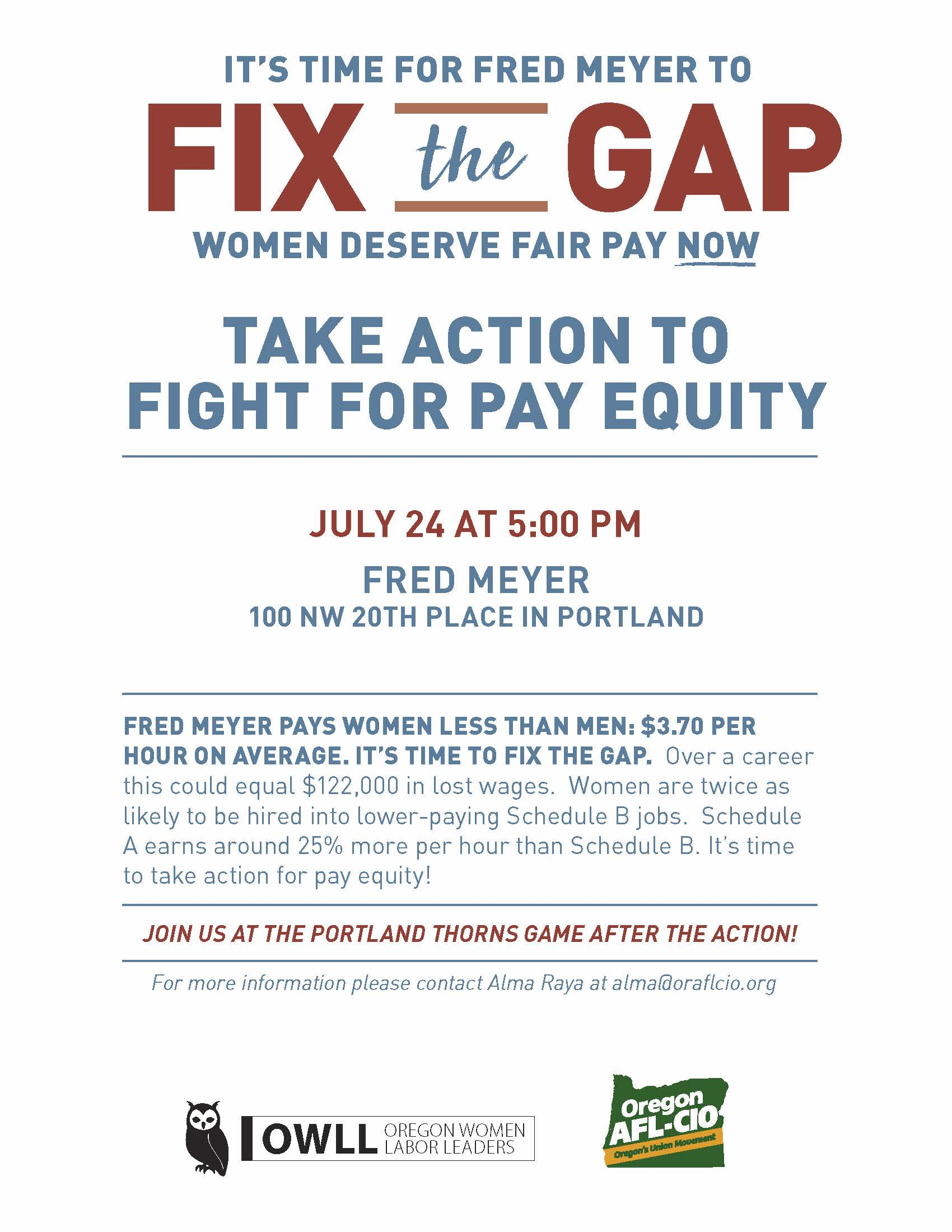 It's Time For Fred Meyer To Fix The Gap: Women Deserve Fair Pay Now
